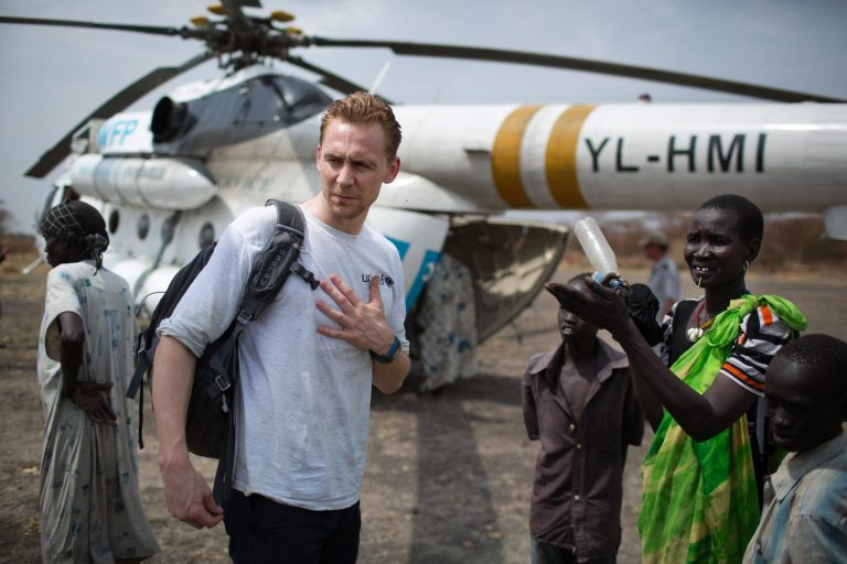 Tom Hiddleston in South Sudan, where he met children who had been affected by the ongoing conflict.