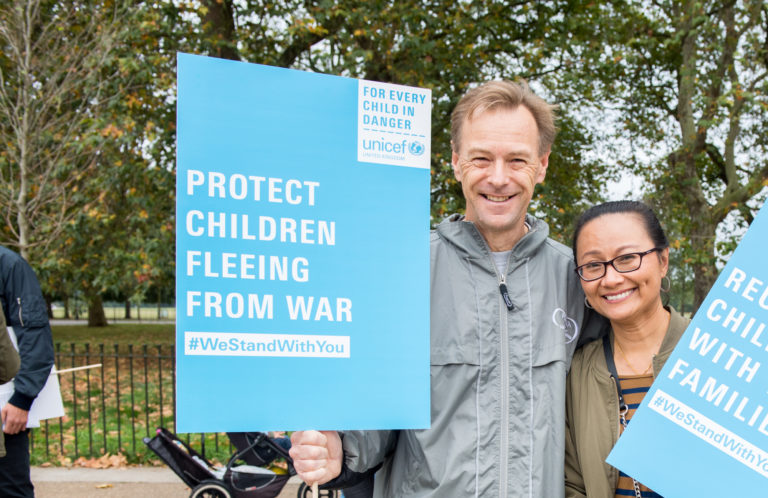 Campaigners Duncan and Jum at the Welcome Refugees march in September 2016. Unicef 2016 Fields