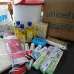 UNICEF's family hygiene and dignity kit contain a bucket, washing powder, bars of soap, shampoo, tooth brushes, tooth paste, washable napkins among others. Photo by Kazutaka Sekine